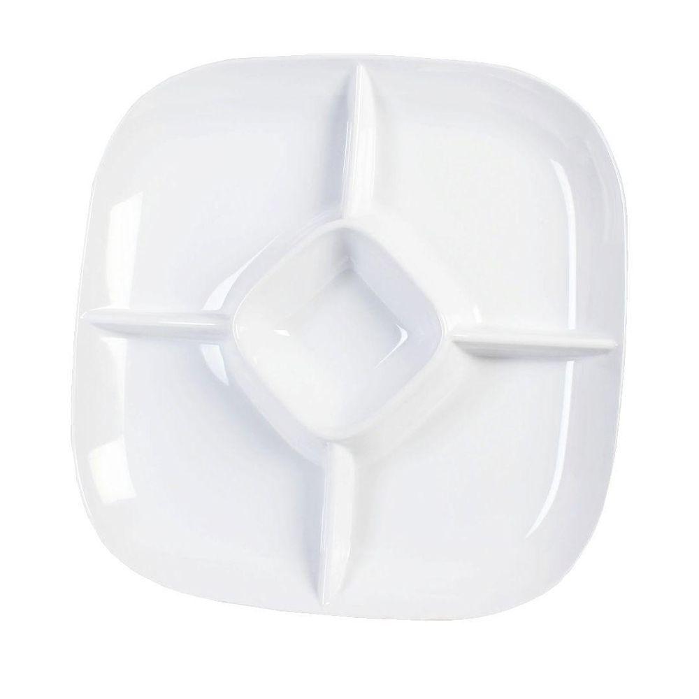 Restaurant Essentials Jazz 15 in. x 15 in. Chip And Dip Platter, 1-3/4 in. Deep in White (1-Piece)