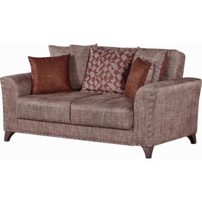 Ashley 68 in. Brown Chenille 2-Seater Convertible Loveseat with Storage