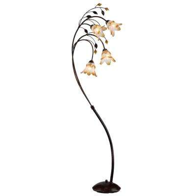 74 in. Bronze Windance Floral Floor Lamp