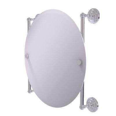 Que New Collection Round Frameless Rail Mounted Mirror in Polished Chrome