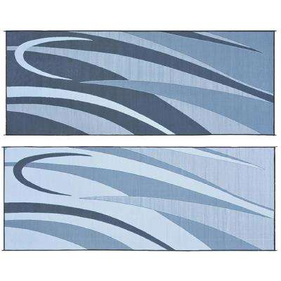 8 ft. x 20 ft. Graphic Black/Silver Reversible Mat
