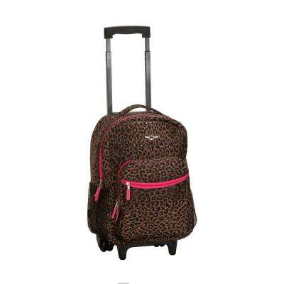 Rockland Roadster 17 in. Rolling Backpack, Pinkleopard