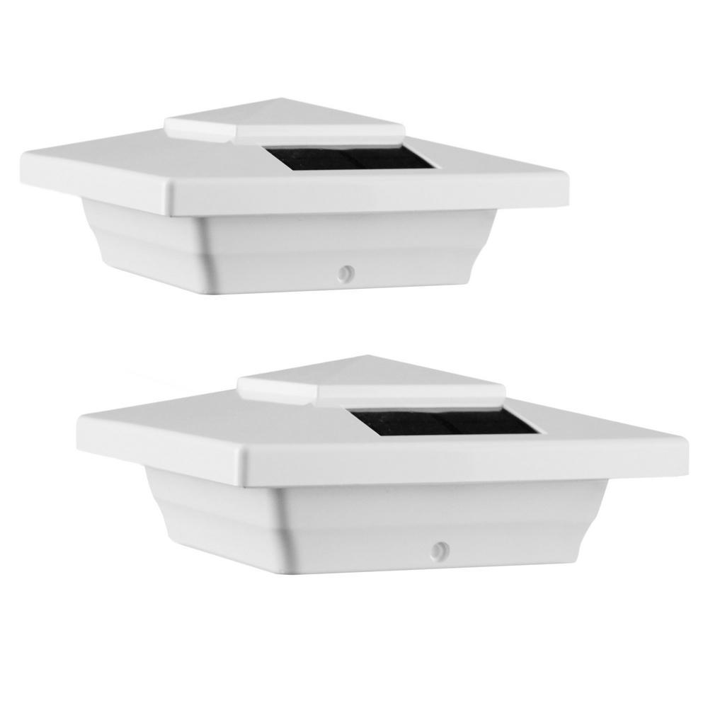 Windsor 4 in. x 4 in. Outdoor White Vinyl LED Solar Post Cap (2-Pack)