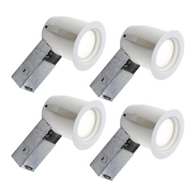 3-in. White Intergrated LED Recessed Fixture Kit for Damp Locations (4-Pack)