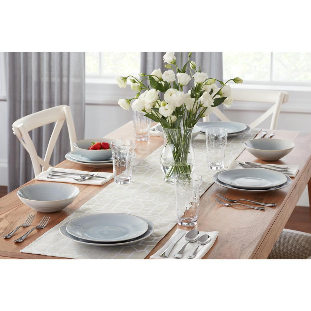 Ellery 32-Piece Reactive Glaze Raindrop Blue Stoneware Dinnerware Set (Service for 8)