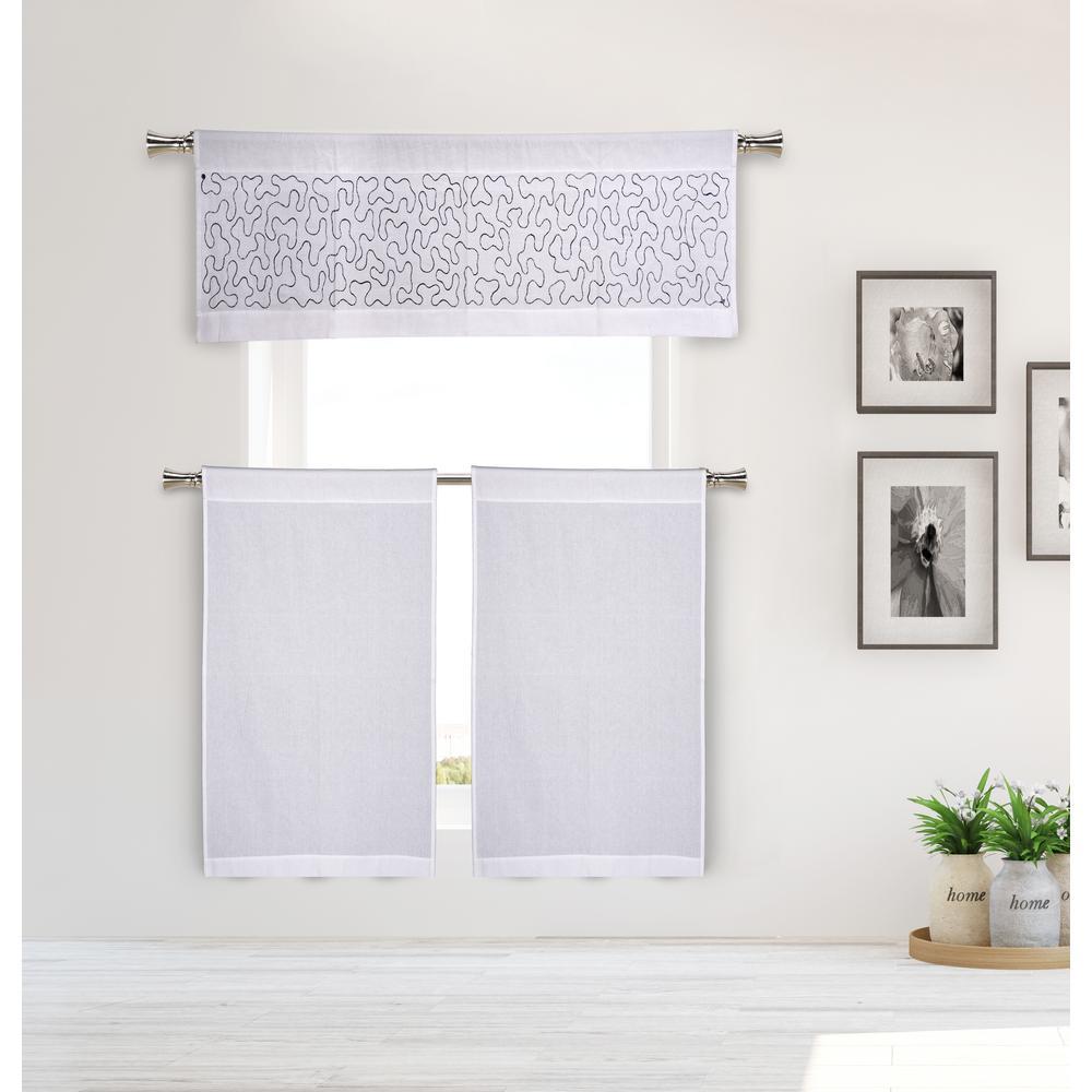 Eliza Kitchen Valance in White-Grey - 15 in. W x 58 in. L (3-Piece)
