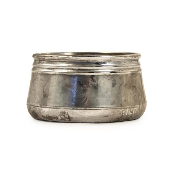 Small Distressed Metallic Can-shaped Bowl