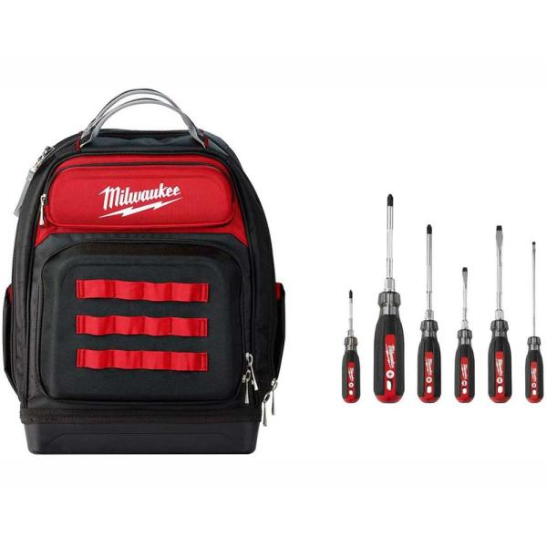 Ultimate Jobsite Black 15 in. Backpack with Screwdriver Cushion Grip Set (6-Piece)