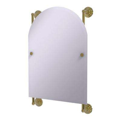 Prestige Que New Collection Arched Top Frameless Rail Mounted Mirror in Unlacquered Brass