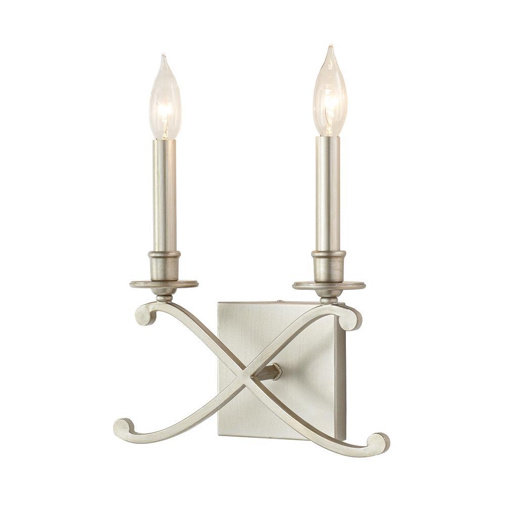 2-Light Criss Cross Antique Silver Leaf Sconce
