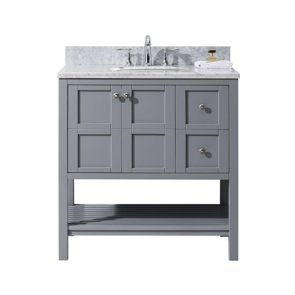 Virtu USA Winterfell 36 In. W X 22 In. D Vanity In Grey With Marble Vanity  Top In White With White Basin ES 30036 WMRO GR NM   The Home Depot