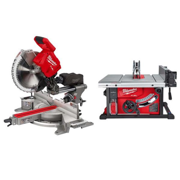 M18 FUEL 18-Volt Lithium-Ion Brushless 12 in. Cordless Dual Bevel Sliding Compound Miter Saw with 8-1/4 in. Table Saw