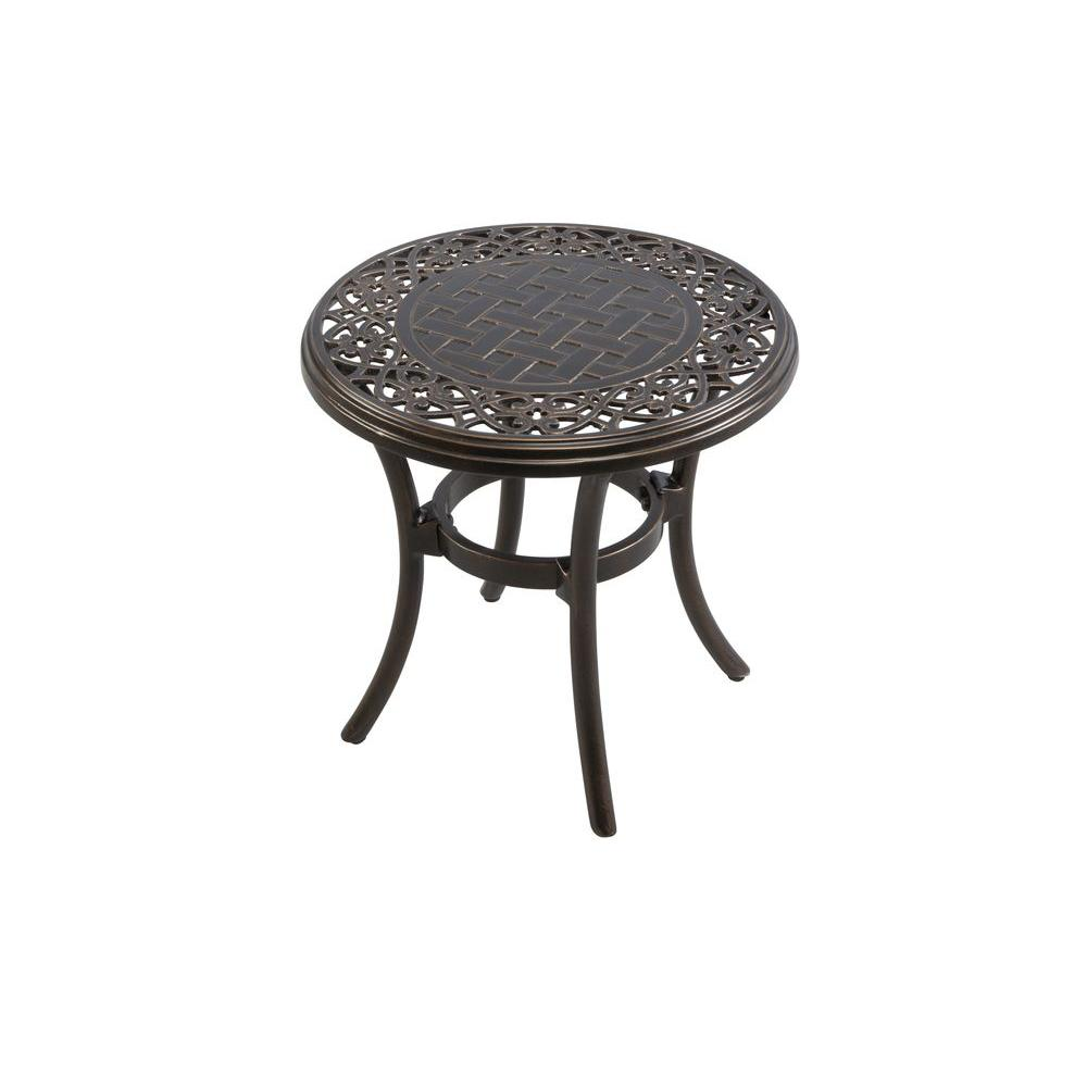hampton bay niles park 18 in round cast top patio side table aph03715k01 the home depot. Black Bedroom Furniture Sets. Home Design Ideas
