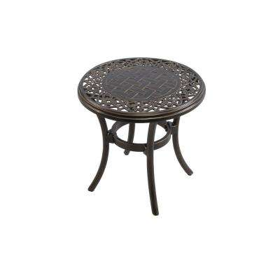 Niles Park 18 in. Round Cast Top Patio Side Table