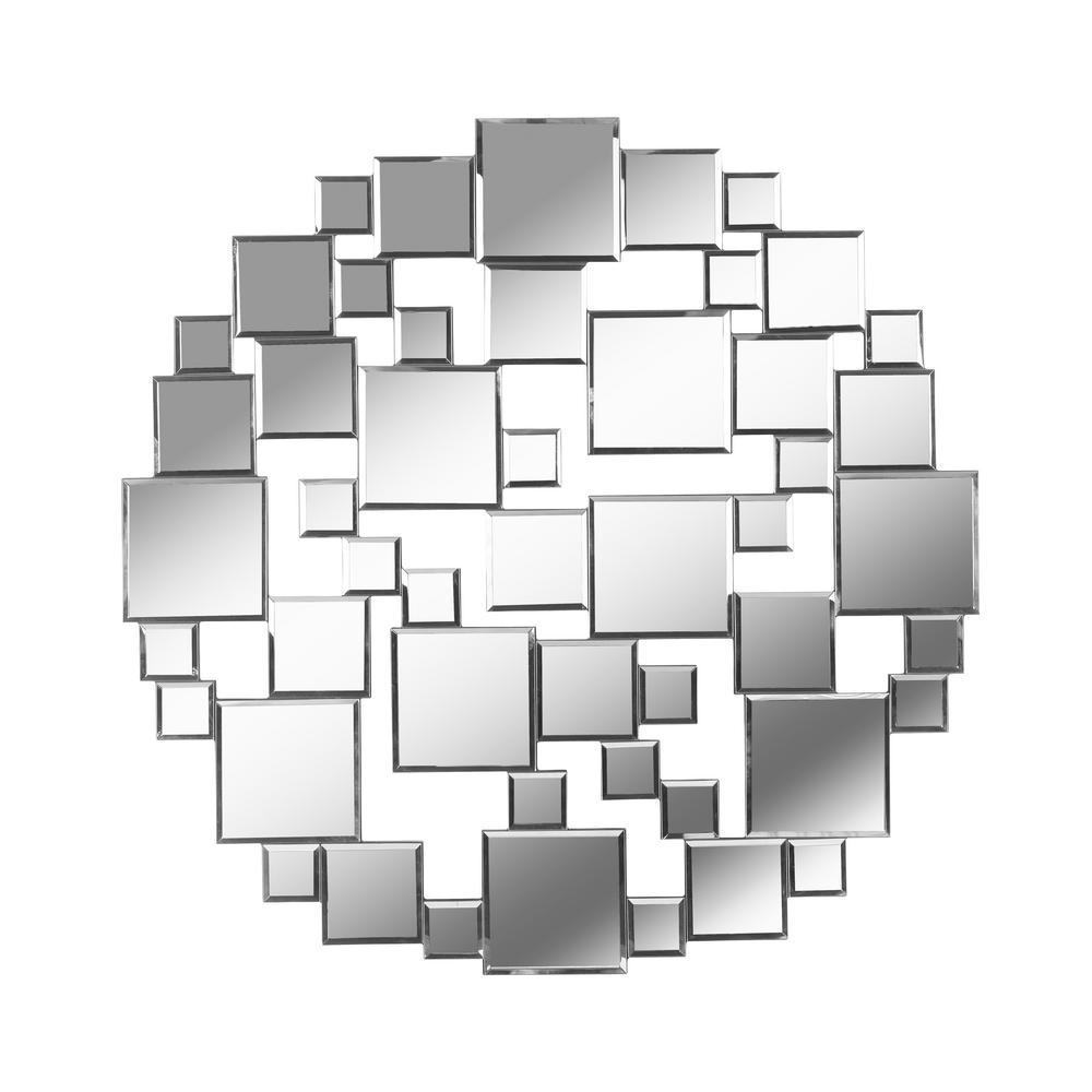 Laguna 31.5 in. x 31.5 in. Casual Circle Frameless Silver Wall Mirror