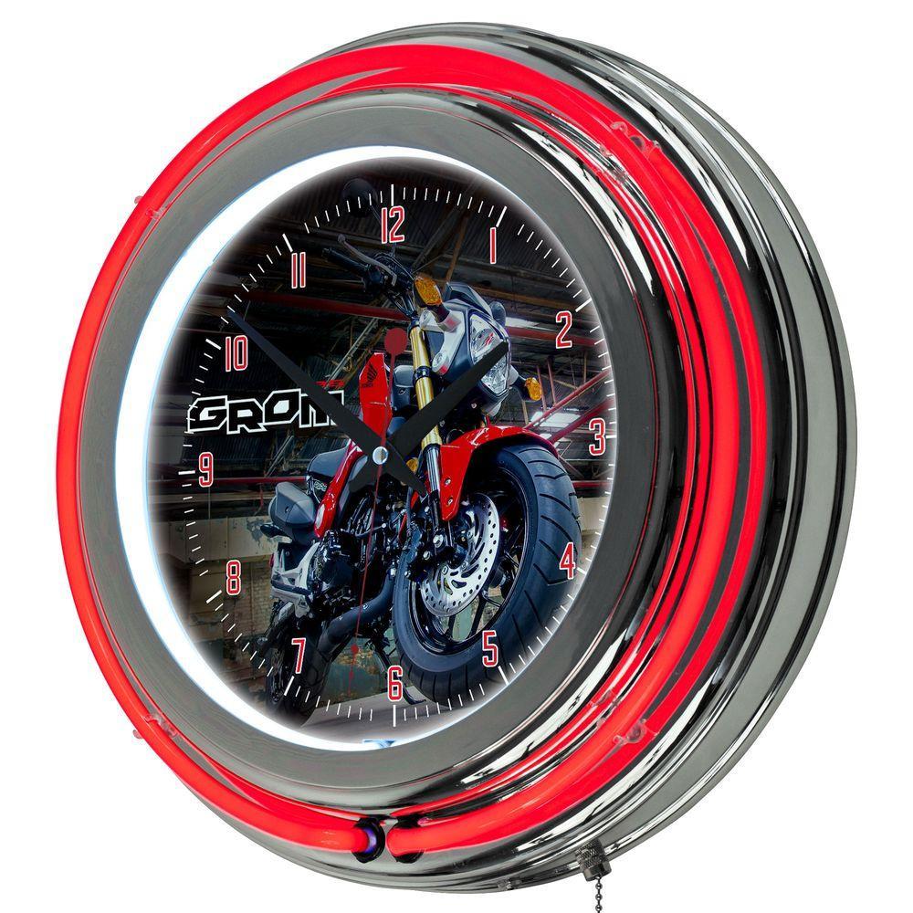 3 in. x 14 in. Honda Grom Chrome Double Ring Neon Clock