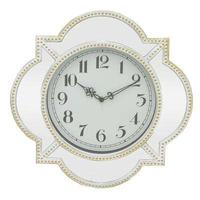 White Trim Wall Clock with Mirror Frame