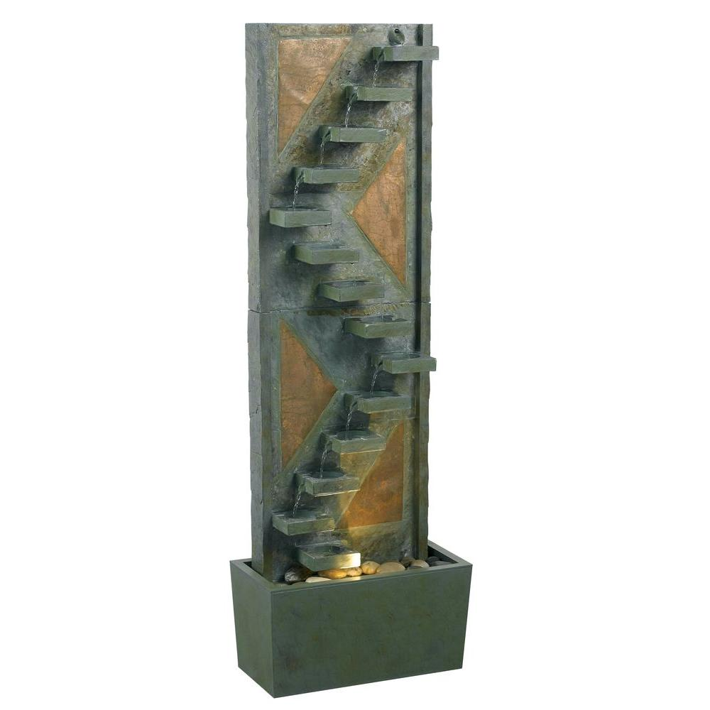 Marvelous Kenroy Home Traverse Lighted Indoor And Outdoor 47 In. Floor Fountain 53205SLCP    The Home Depot