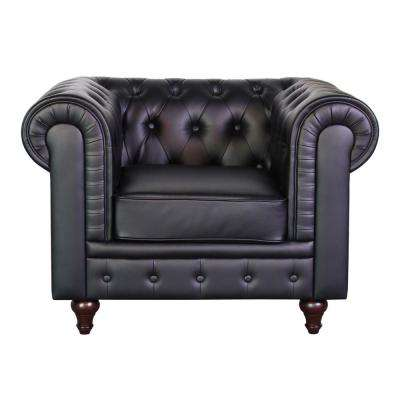 Grace Chesterfield Bonded Leather Button-Tufted Chair, Black
