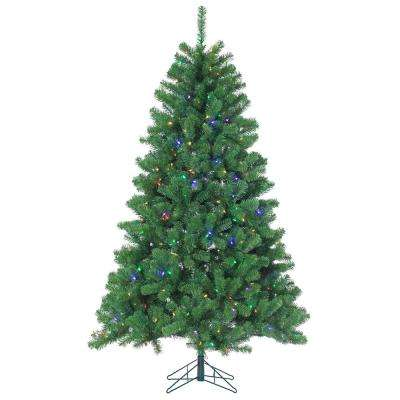 7 ft. Pre-Lit LED Montana Pine Artificial Christmas Tree with Multicolored Lights