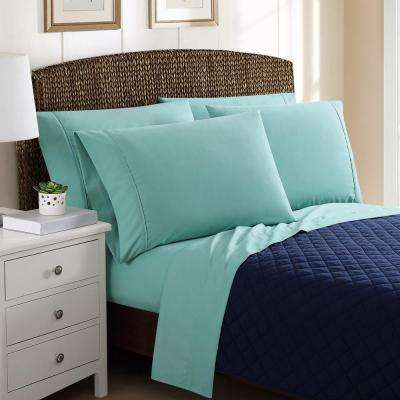 6-Piece Solid Turquoise Queen Sheet Sets