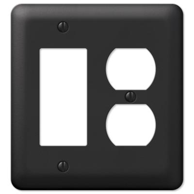 Declan 2 Gang 1-Duplex and 1-Rocker Steel Wall Plate - Black