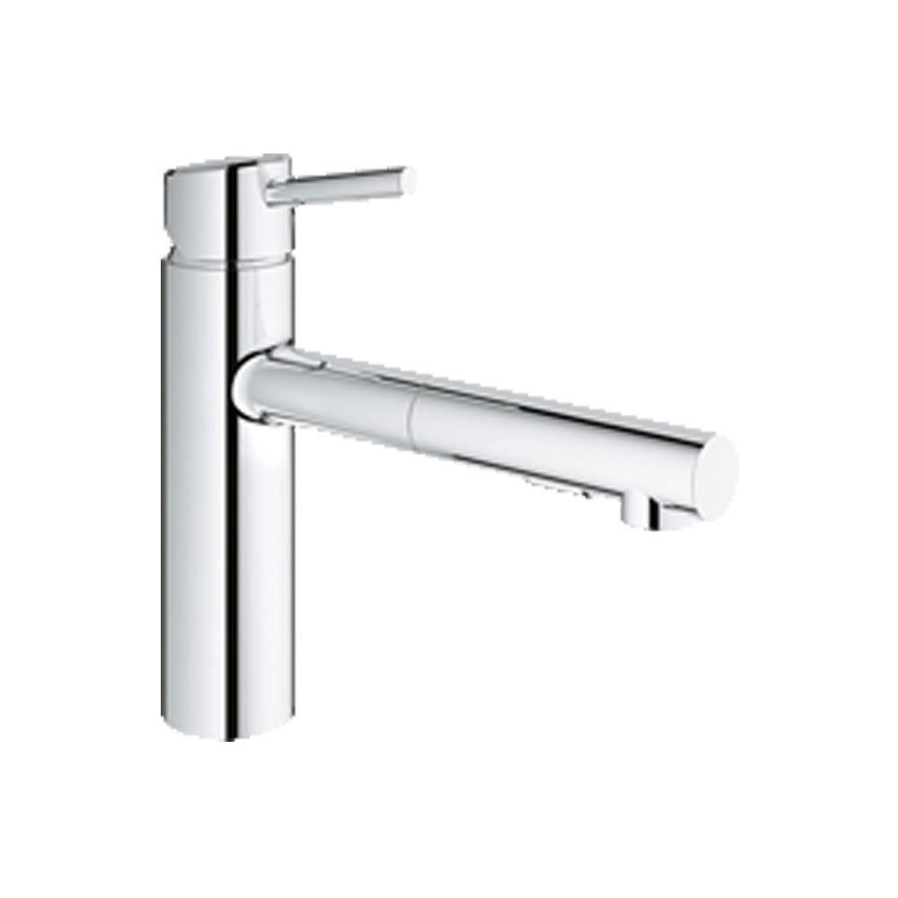 Grohe Concetto Single Handle Pull Out Sprayer Kitchen Faucet In Starlight Chrome 31453001 The Home Depot