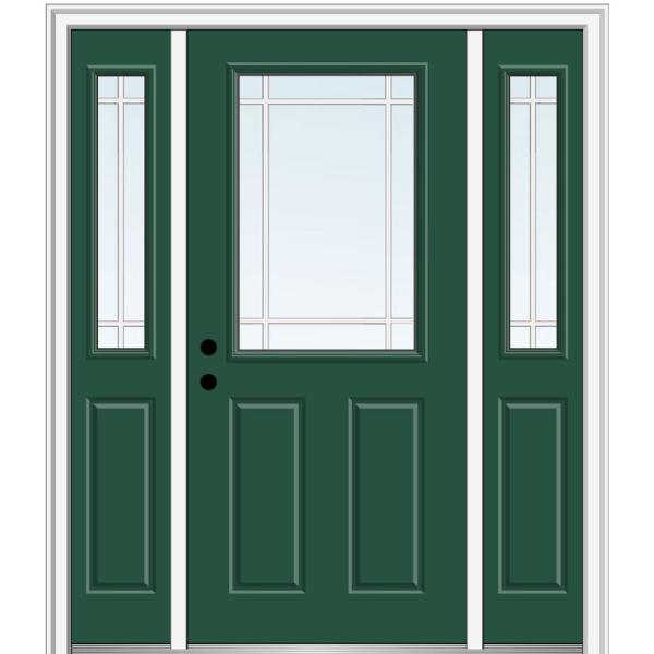 Mmi Door 68 5 In X 81 75 In Internal Grilles Right Hand Inswing 1 2 Lite Clear Painted Steel Prehung Front Door With Sidelites Z005507r The Home Depot