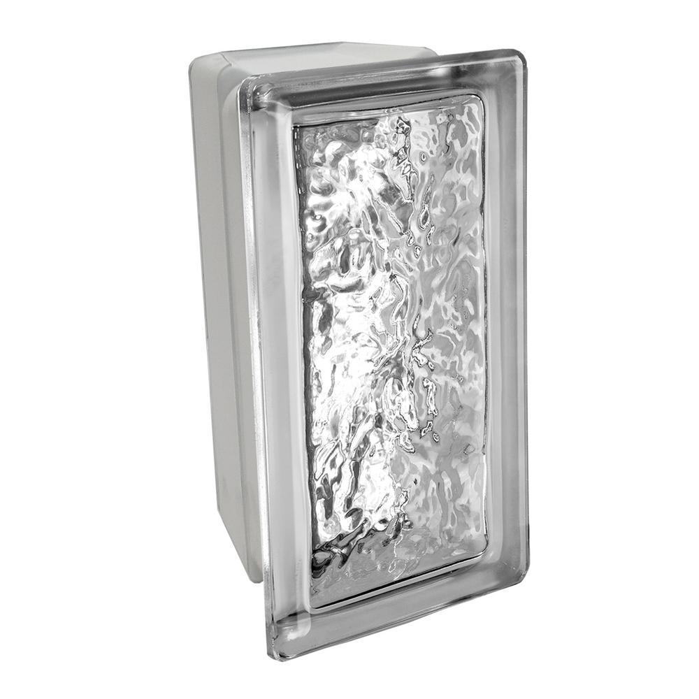 Cortina 3.875 in. x 7.75 in. x 3.875 in. 22-1/2° Allbend Ice Pattern Glass Block (6-Pack)