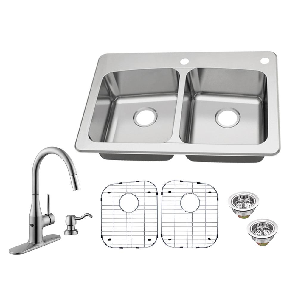 Glacier Bay All In One Dual Mount 18 Gauge Stainless Steel 33 2 Hole 50 Double Bowl Kitchen Sink With Faucet