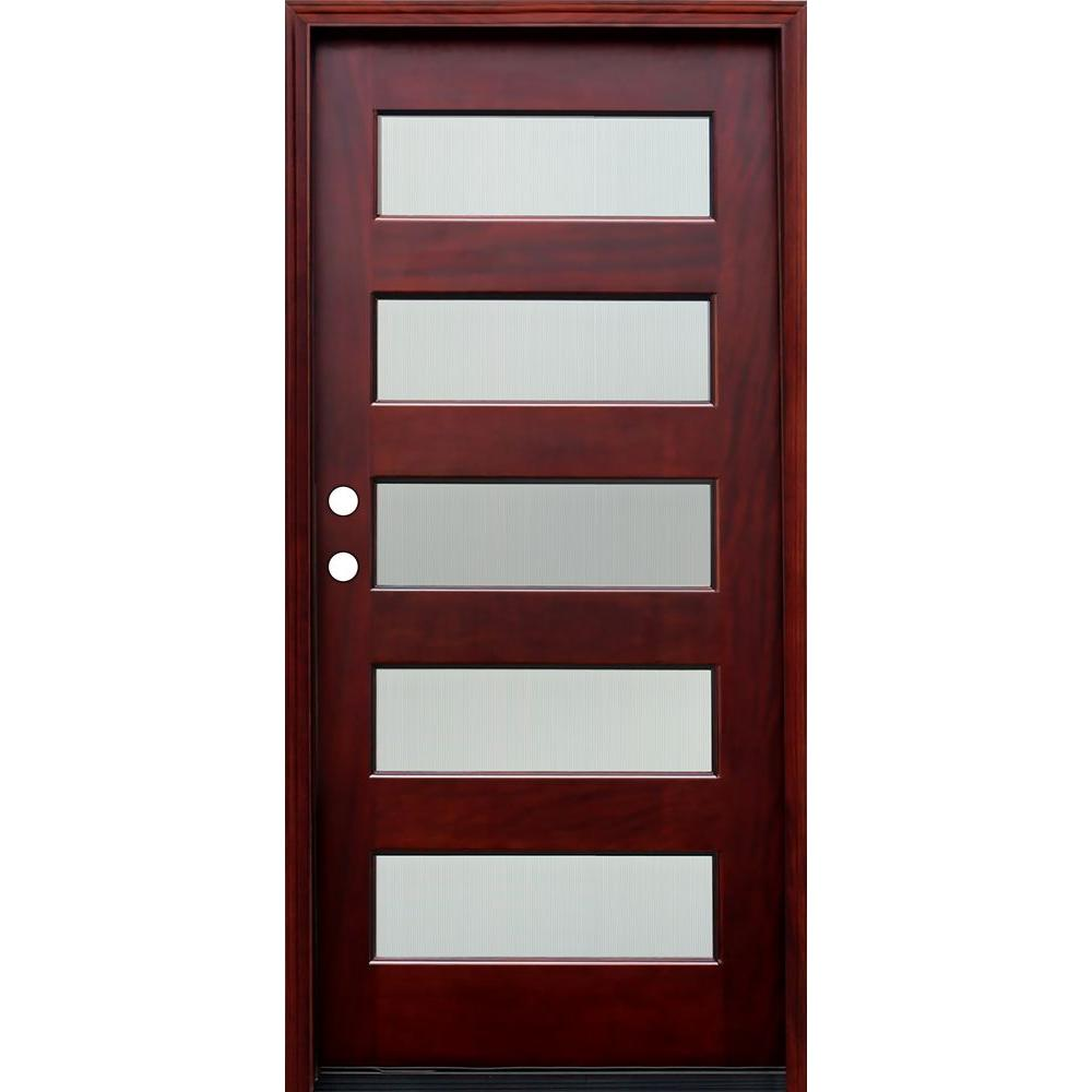Delicieux 36 In. X 80 In. Contemporary 5 Lite Reed Stained Mahogany Wood Prehung Front