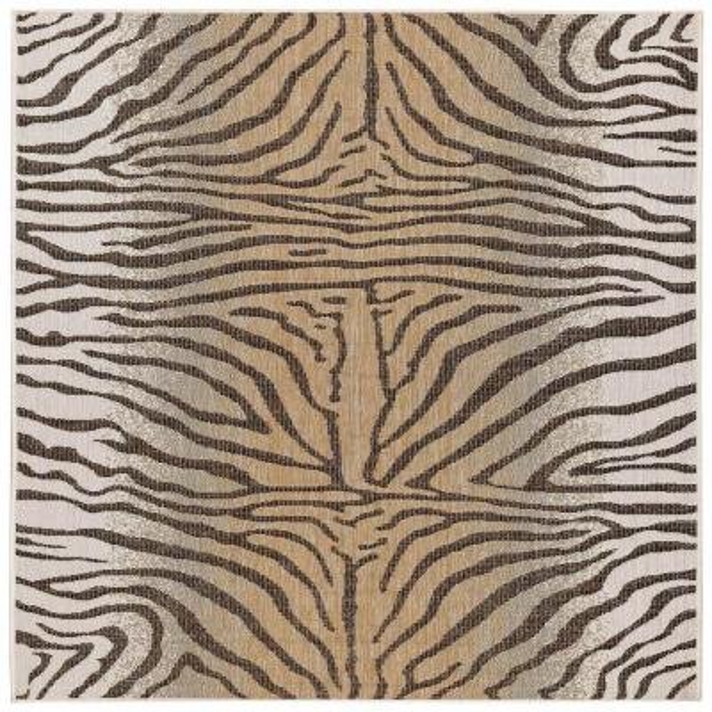 Liora Manne Carmel Zebra Sand 7 ft. 10 in. x 7 ft. 10 in. Square Indoor/Outdoor Area Rug