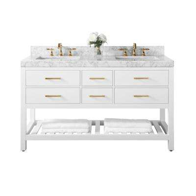 Elizabeth 60 in. W x 22 in. D Vanity in White with Marble Vanity Top in White with White Basins