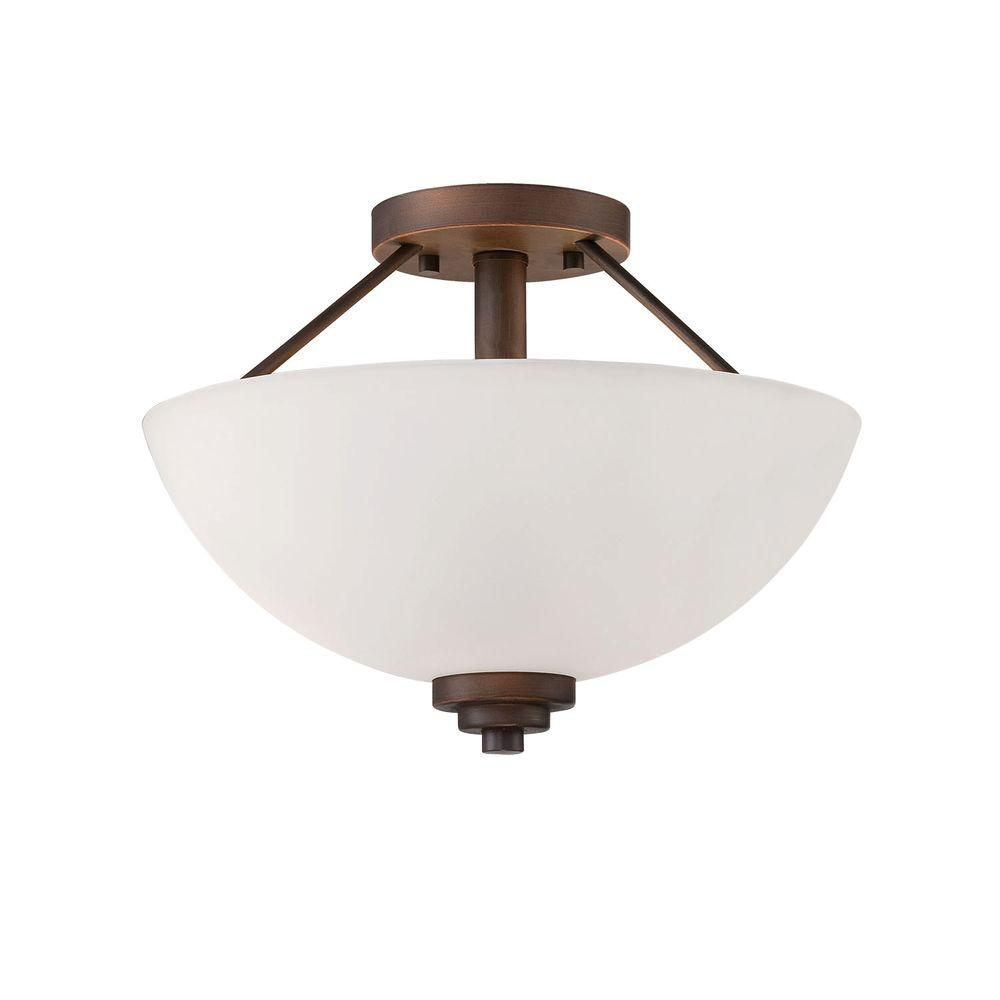 Millennium Lighting 2-Light Rubbed Bronze Semi Flush Mount with Etched White Glass