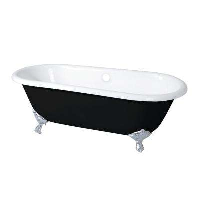 Classic 5.5 ft. Cast Iron Polished Chrome Claw Foot Double Ended Tub in Black