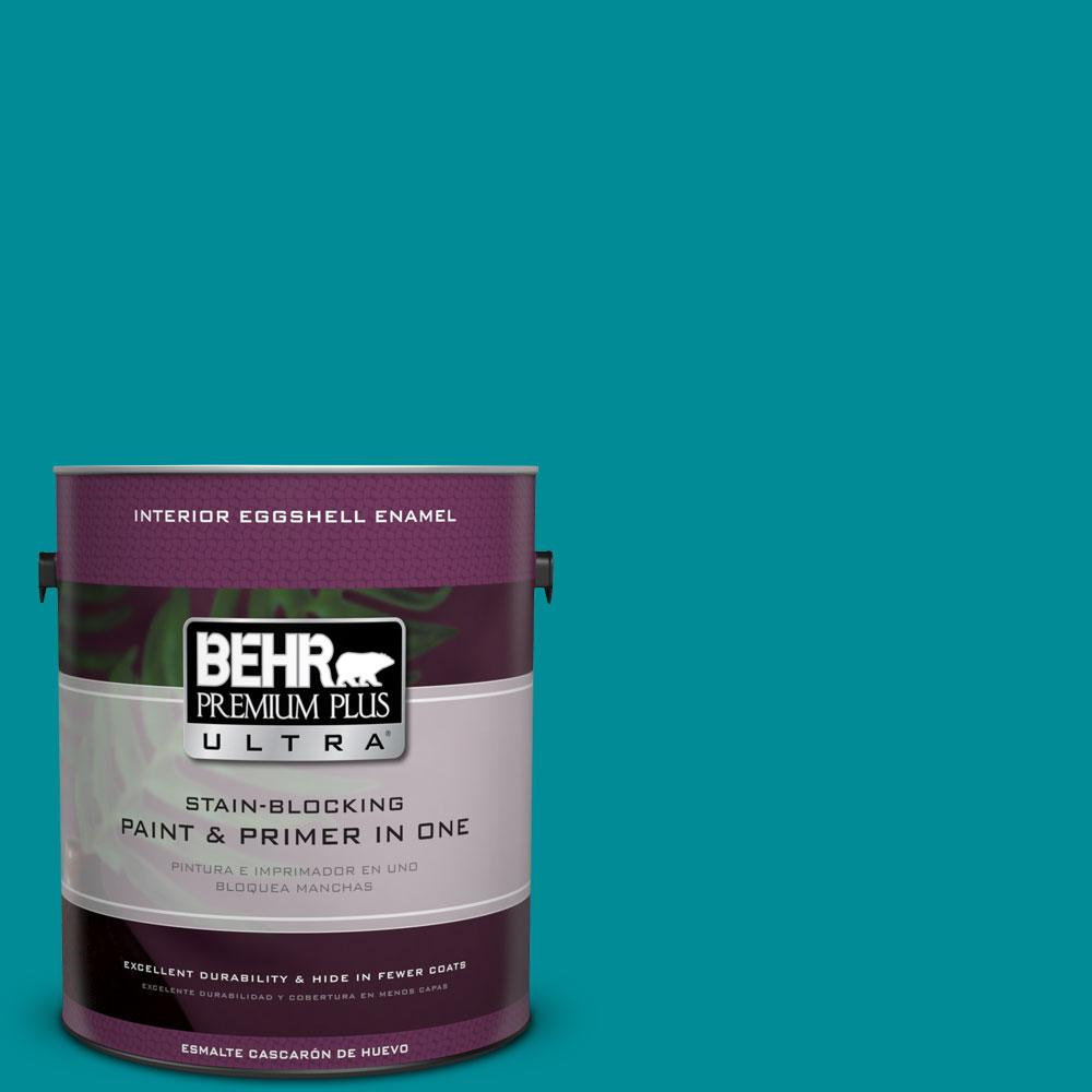 BEHR Premium Plus Ultra 1-gal. #510B-7 Empress Teal Eggshell Enamel Interior Paint