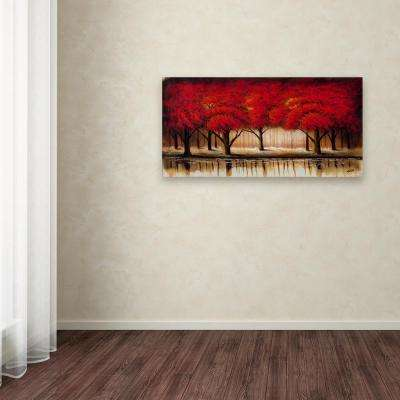 """24 in. x 47 in. """"Parade of Red Trees II"""" by Rio Printed Canvas Wall Art"""