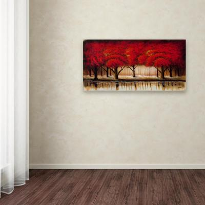 "24 in. x 47 in. ""Parade of Red Trees II"" by Rio Printed Canvas Wall Art"