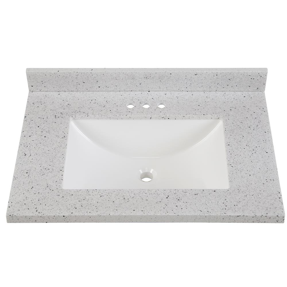 Home Decorators Collection 4 in. Solid Surface Vanity Top in Silver Ash  with White Sink-SS4R-AH - The Home Depot