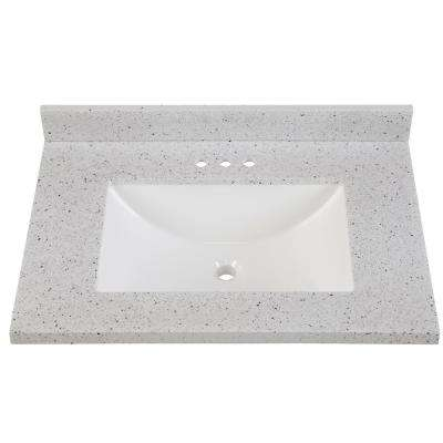 31 in. Solid Surface Vanity Top in Silver Ash with White Sink