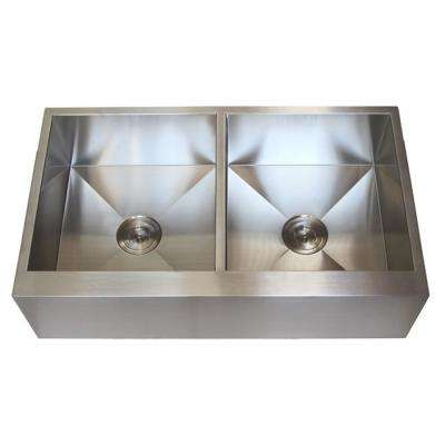 Farmhouse Flat Apron Front Stainless Steel 36 in. x 21 in. x 10 in. 16-Gauge Double 50/50 Bowl Zero Radius Kitchen Sink