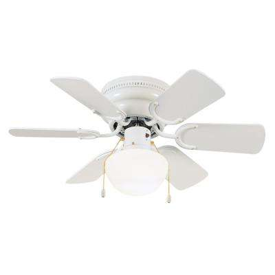 Atrium 30.5 in. Indoor White Hugger Lighted Ceiling Fan