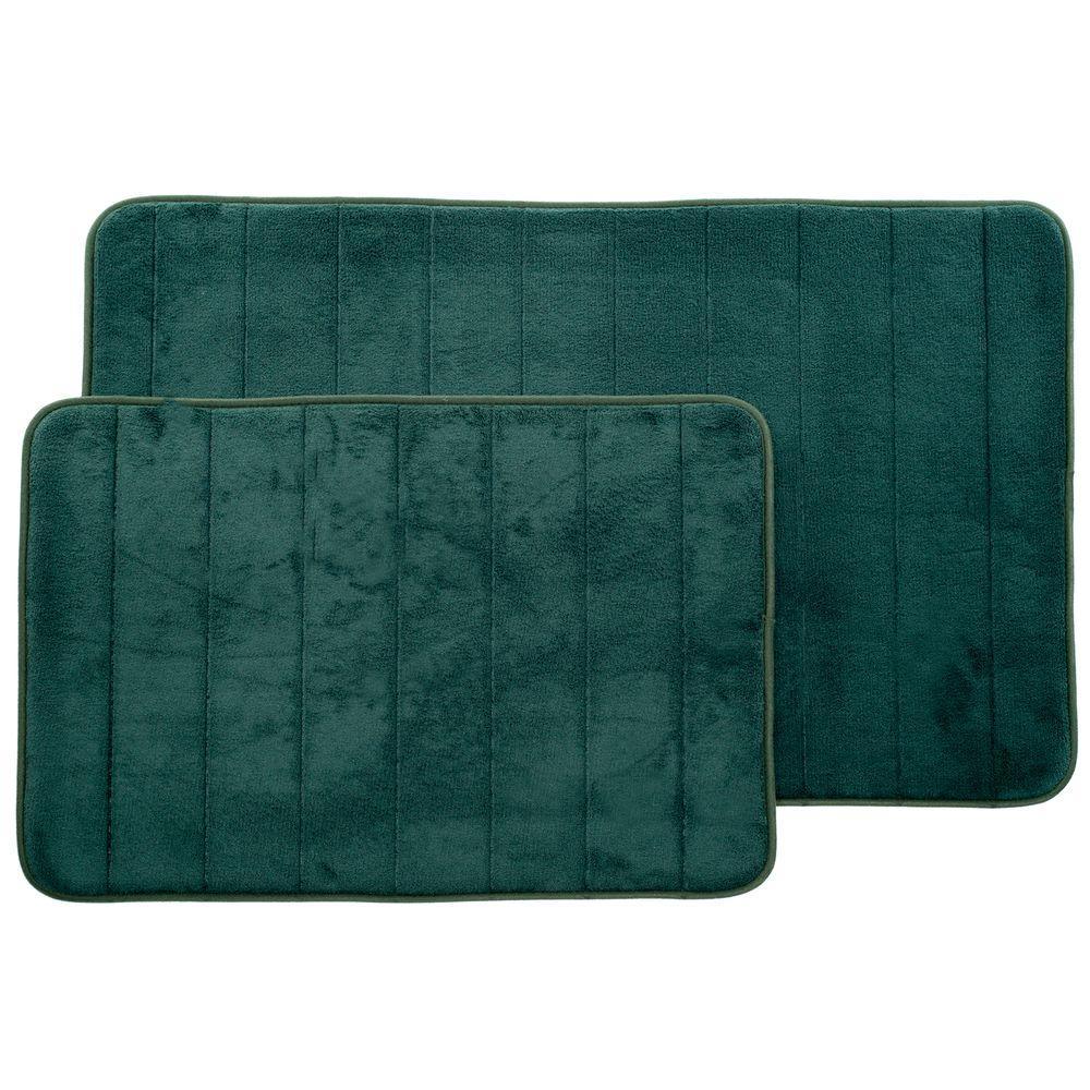 Green 20.25 in. x 32.25 in. Memory Foam 2-Piece Bath Mat Set