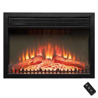 24 in. Freestanding Portable Electric Fireplace Heater in Black with Remote