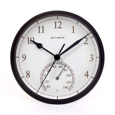 9.25 in. Black Wall Clock with Analog Thermometer