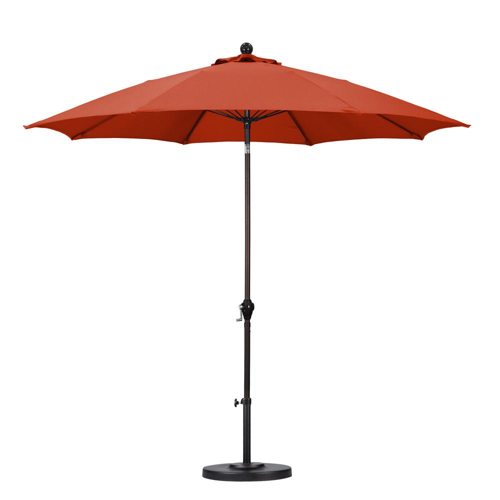 Good California Umbrella 9 Ft. Fiberglass Push Tilt Patio Umbrella In Brick  Polyester