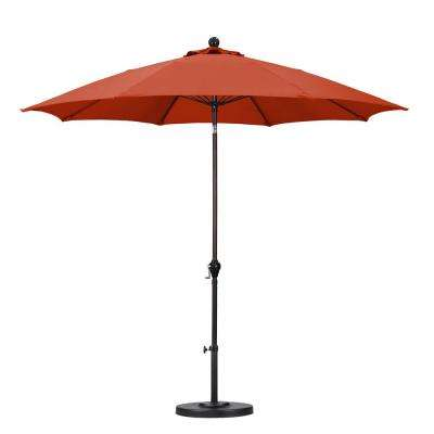 9 ft. Fiberglass Push Tilt Patio Umbrella in Brick Polyester