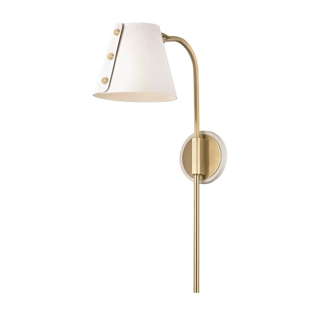 Mitzi by hudson valley lighting meta 1 light aged brass led wall sconce with plug