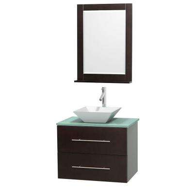 Centra 30 in. Vanity in Espresso with Glass Vanity Top in Green, Porcelain Sink and 24 in. Mirror