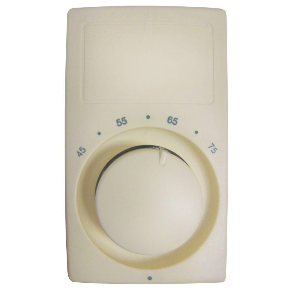 M600 Series Anticipating Almond Bimetal Single-Pole 22 Amp Wall Thermostat